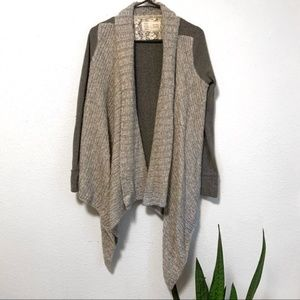 Anthropologie Gray Knit Waterfall Open Cardigan
